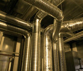 Ventilation pipes of industrial air condition — Stock Photo