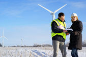 Team of engineers or architects with white safety hat and wind turbines on — Stock Photo