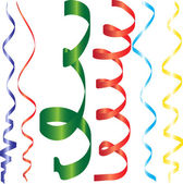 Gradient curling ribbons or party serpentine for design — Stock Vector