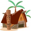 Illustration of straw hut with coconut tree — Stock Vector