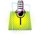Illustrazione vettoriale retrò microfono. — Vettoriale Stock