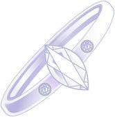 Diamond ring over white background — Stock Vector