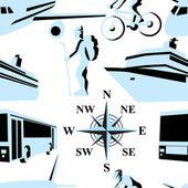 Trip. Vector illustration. Seamless. — Stock Vector