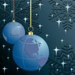 Christmas. Earth. Vector illustration. — Stock Vector