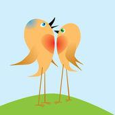 Dois passarinhos cantam sobre o amor. vector. — Vetorial Stock