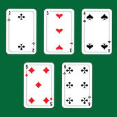 Cards, winnings combinations of poker. Vector. — Stock Vector