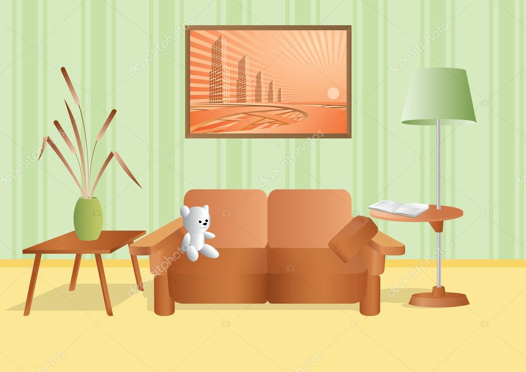 Room with a bouquet and sofa — Stock Vector #8751484