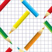 Lápis de cor. artigos de papelaria. sem emenda. — Vetor de Stock