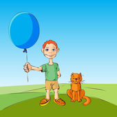 The boy and the cat walk with inflatable ball. Vector illustrati — Stock Vector