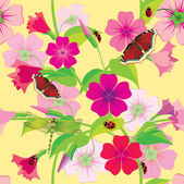Flower background with butterflies and dragonflies. Vector illus — Stock Vector