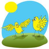 радостный курица приветствовали друг. — Cтоковый вектор