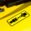 Pictogram of safety belt on a forklift — Photo