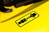 Pictogram of safety belt on a forklift — Stock Photo
