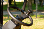 Steering wheel of a forklift — Stock Photo