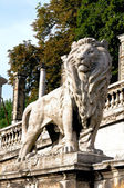 Lion figure at the root of Buda Castle in Budapest — Stock Photo