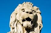 在布达佩斯的链桥的石头狮子 — 图库照片