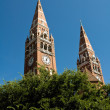 The two towers of cathedral in Szeged — Stock Photo