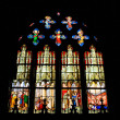 Stained glass window of Saint Etienne church in Paris — Stok fotoğraf