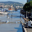 The flooded dock of Danube — Stock Photo