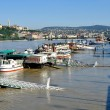 The overswelled Danube in Budapest — Stock Photo