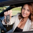 Business woman holding car key — Stock Photo #10142145