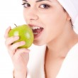 Woman eating apple — Stock Photo #10146104