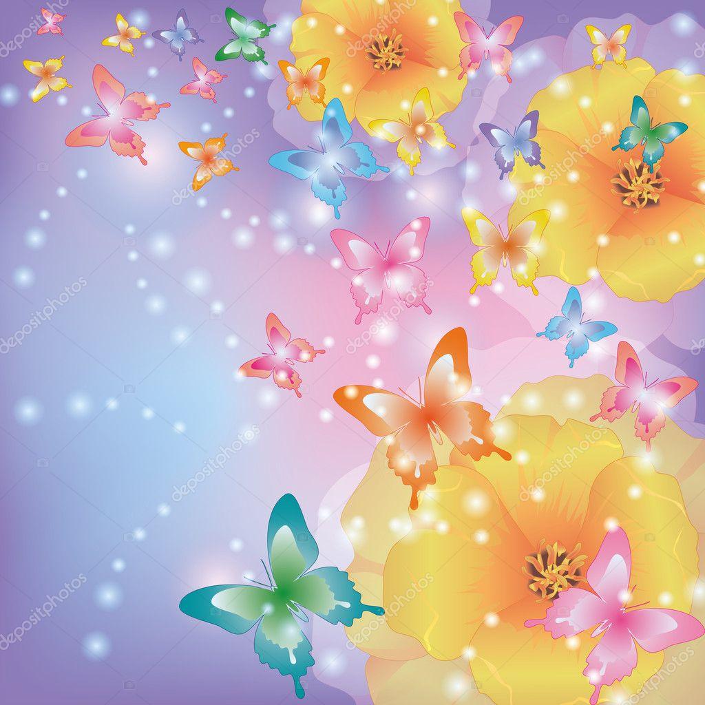 Sfondo astratto con fiori papaveri e farfalle vettoriali for Foto farfalle colorate