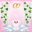 Wedding greeting or invitation card with pair of swans — Vector de stock