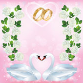 Wedding greeting or invitation card with pair of swans — Stock Vector