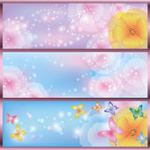Set of horizontal floral banners — Stock Vector