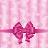 Pink background with ribbon and bow — Stock Vector