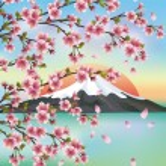 ������, ������: Japanese background with Japanese cherry tree sakura