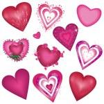 Set of beautiful decorative hearts — Stock Vector