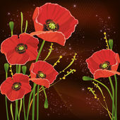 Beautiful red poppies background — Stock Vector