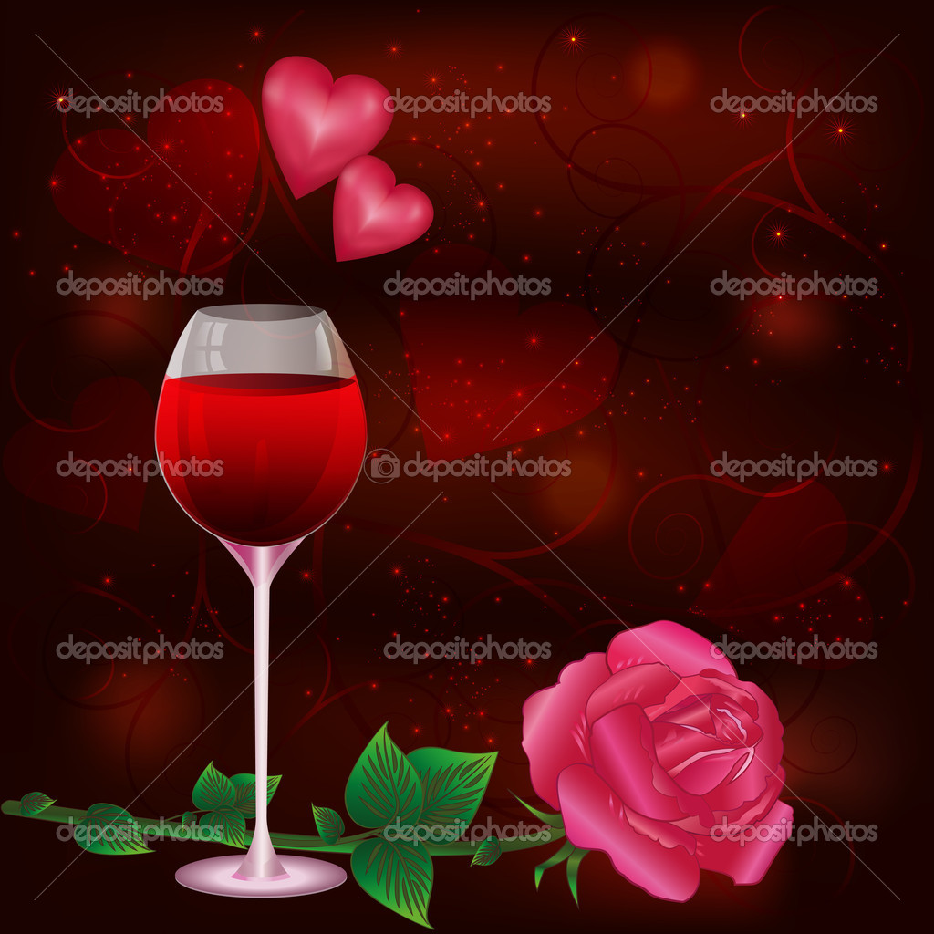 Valentines  Day card dark red  with wine glass and rose, decorated with hearts, curls and stars. Vector illustration. EPS 10 — Stock Vector #8041701