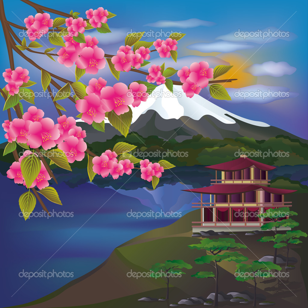 Beautiful Japanese landscape  Japanese Cherry Blossom Landscape Painting