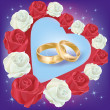 Royalty-Free Stock Vector Image: Wedding rings with white and red roses
