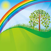 Summer or spring nature background with tree and rainbow — Stock Vector