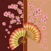 Background with fan and sakura blossom - Japanese cherry tree — Stock Vector