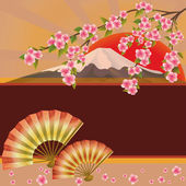 Background with fan, mountain and sakura blossom - Japanese cher — Stock Vector