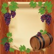 Background with grape, barrel and paper on wooden board — Stock Vector
