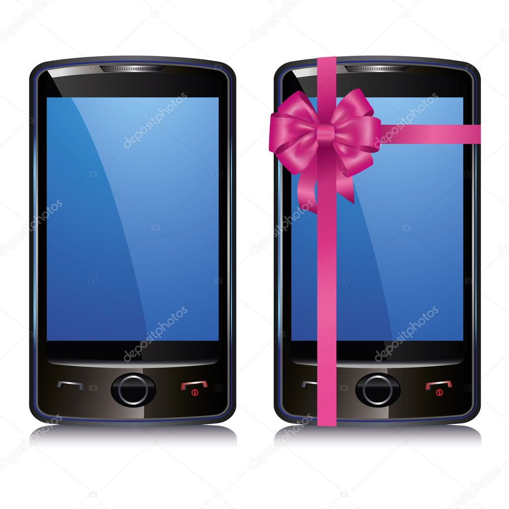 Set of two touch screen smart phone isolated on white background — Stock Vector #9164170