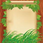 Sfondo natura con carta, erba e foglie — Vettoriale Stock
