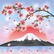Stock Vector: Japanese landscape with mountain and sakurblossom