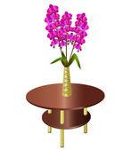 Kytice orchidejí v váza na konferenční stolek — Stock vektor