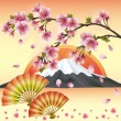 Japanese background with sakura blossom - Japanese cherry tree - Stock Vector