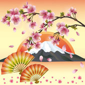 Japanese background with sakura blossom - Japanese cherry tree — Stock Vector