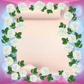 Gruß oder Einladung Karte mit Papier und Rosen — Stockvektor