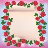 Inbjudan eller hälsningen kort med papper och röda rosor — Stockvektor