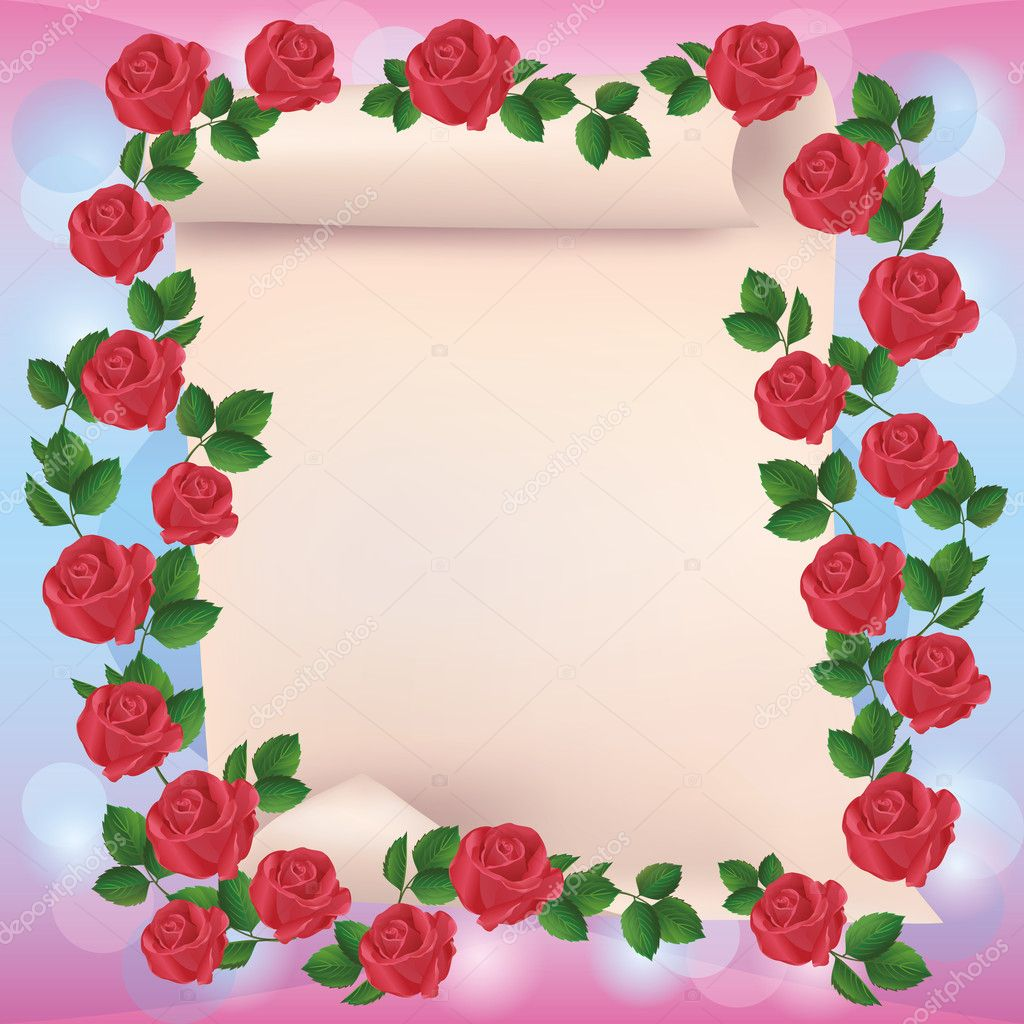 Greeting or invitation card with roses and paper - place for text — Stock Vector #9772128